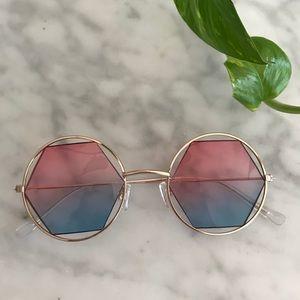 Pink to blue fade hexagon sunglasses